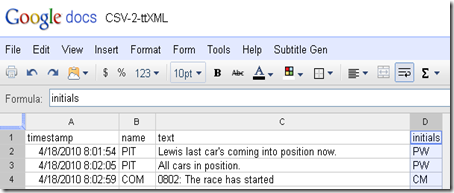 Convert time stamped data to timed-text (XML) subtitle format using Google Spreadsheet Script
