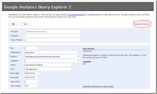 Google Analytics Query Explorer 2