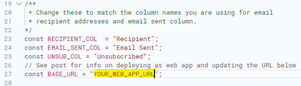 Insert your copied web app url